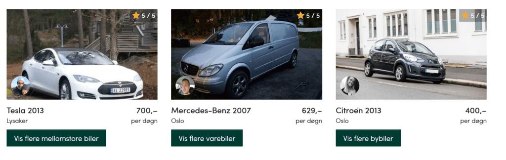Skjermbilde: Nabobil.no. Utvalg av biler.